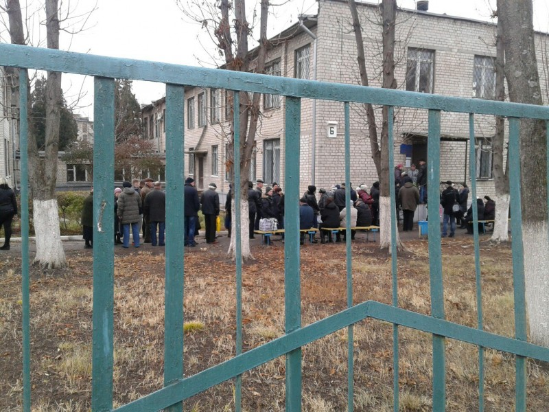 Queue in front of Ordzhonikidze Social Protection office