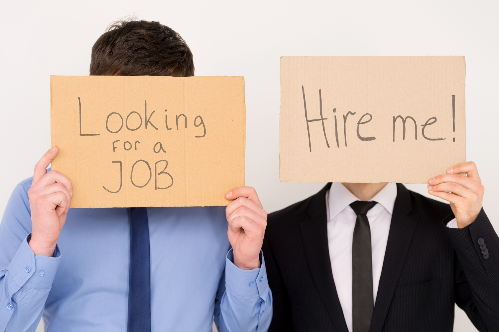 Unemployed Office Workers Holding Cardboard Signs Job Hunting The