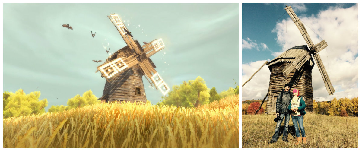 Screenshot of the game and photo from a trip to Ukraine