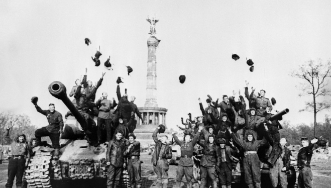 Soviet tankers celebrate the victory in Berlin. May 9, 1945.